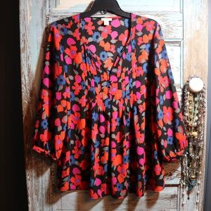 Mercer & Madison Vibrant Floral  Blouse Size XL